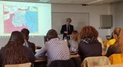 Furman Professor David Spear presenting to Howest students at International Day about Americans in Belgium during WW1